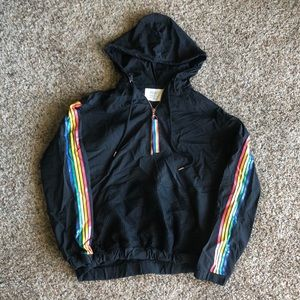 Black Rainbow Sleeve Hooded Jacket
